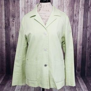 Eileen Fisher light green snap button blazer